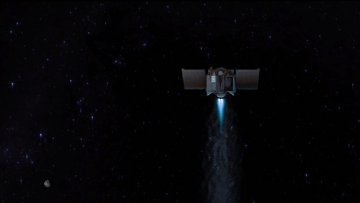 NASA spacecraft carrying sample asteroid material preps for Earthbound journey